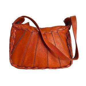 Vintage 70s Leather Hobo Burnt Orange Whipstitch